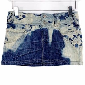 GUESS upcycled bleached denim jean mini skirt